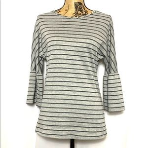 Loveappella Grey Striped Bell 3/4 Sleeve Top